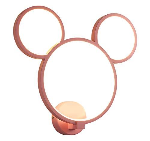 30W Mickey Mouse Lampe Murale Dessin animé Lampe Murale Design Trois Anneaux Lampe de Chevet d'éclairage décoratif LED pour Enfants Chambre Ø40 * 36cm,Rose,dimmable