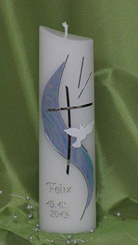 Taufkerze/Kommunionkerze, oval, 21 x 6 x 3,5 cm, inklusive Beschriftung ! A 10