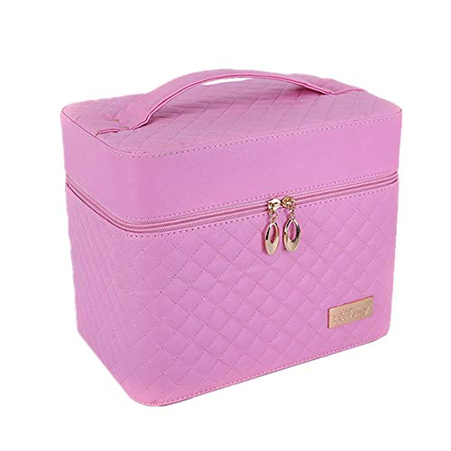 CCHM Trousse de Maquillage Portable à la Mode Professionnelle Grande capacité Multicouche Valise Voyage cosmétiques Cas pour Les Femmes,Pink
