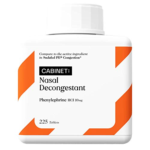 Cabinet Nasal Decongestant PE (225 Tablets) Non-Drowsy | 10 mg Phenylephrine HCl to Relieve Sinus Pressure and Congestion
