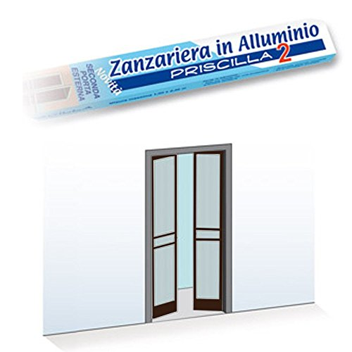 Zanzariera 2 Porte Battente 150X240Cm Riducibile Marrone Telaio Alluminio 0954