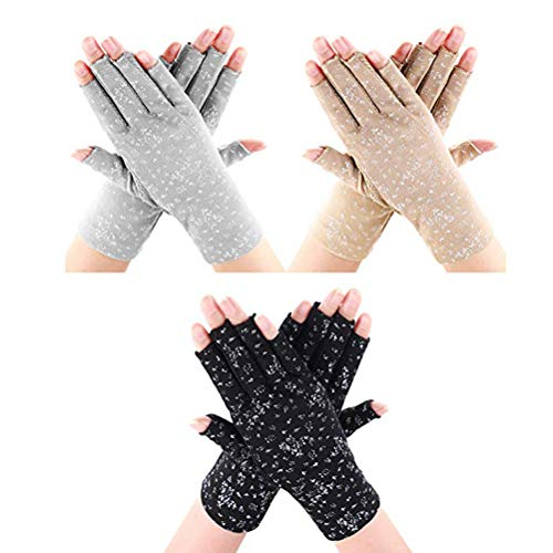 Opplei - 3 pares de guantes de protección solar, guantes blancos, de...