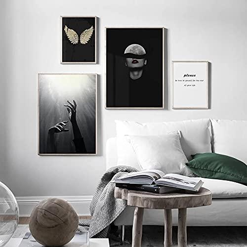 Arte de pared Alas en blanco y negro Imagen abstracta Luna Chica Póster Pintura en lienzo Impresión nórdica Decoración moderna- (50X70cm) 2pcs (30X40cm) 2pcs Sin marco