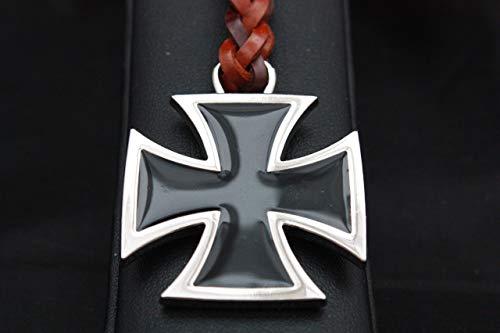 Llavero Cuero trenzado Cruz Templaria (Cruz de Hierro) Cromado y esmaltado