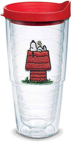 Tervis Peanuts - Snoopy Woodstock House Insulated Tumbler with Emblem and Red Lid, 24oz, Clear