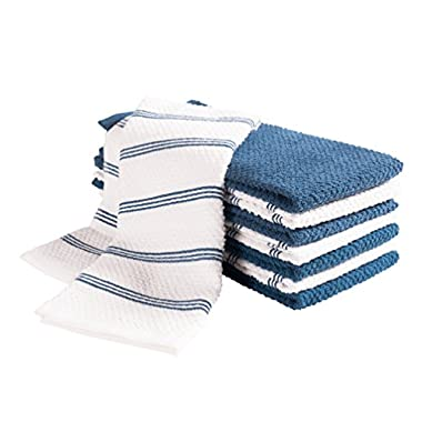 KAF Home Pantry Piedmont Kitchen Towels (Set of 8, 16x26 inches), 100% Cotton, Ultra Absorbent Terry Towels - Paris Blue