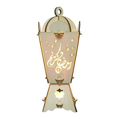 Congchuaty moslim lantaarns voor Ramadan houten gloeiende nacht licht decoratie ambachten koffie