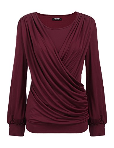 Zeagoo Women's Scoop Neck Long Sleeve Pleated Front Fitted Blouse