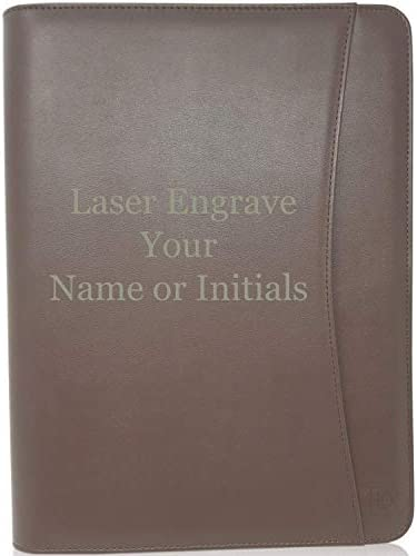 Lautus Designs Engraved Leather Portfolio Padfolio Dark Brown Monogrammed Faux Leather Business product image