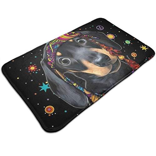 Dackel Hund Schwarz Halloween Persönlichkeit Muster Wohnzimmer Schlafzimmer Teppich Fußmatte Druck rutschfeste Matte