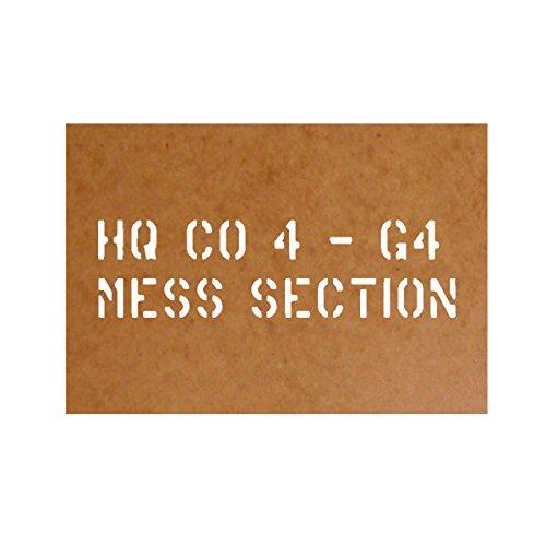 Ölkarton Schablone MESS SECTION HQ CO 4 - G4 US Army Kiste Offizier Besteck Geschirrkiste Stencil 23cm passend für VW Typ 181 DKW Munga für Lackierung (23cm) - Ölkarton Lackierschablone #17143