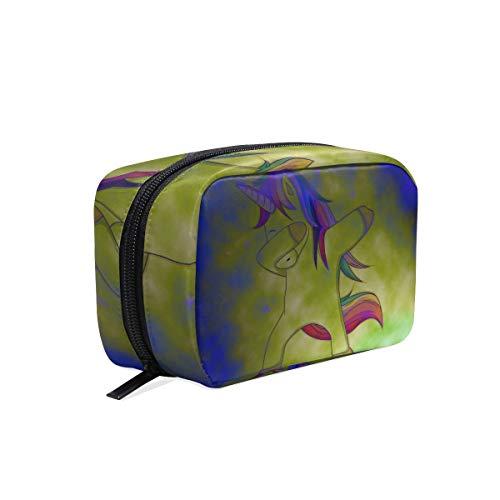 ISAOA Lindo Unicornio Dabbing Dance Portátil Viaje Mini Bolsa de Maquillaje Estuche de Cosmético Mkeup Organizador Kit Neceser Bolsa de Bolsa de Almacenamiento de Belleza Bolso con Cremallera para