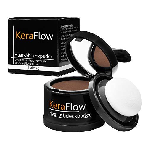 KeraFlow Ansatzpuder | Haar Concealer zur Haarverdichtung | Haarpuder zum Haaransatz kaschieren | Farbpuder gegen lichte Stellen – 4g (Hellbraun)