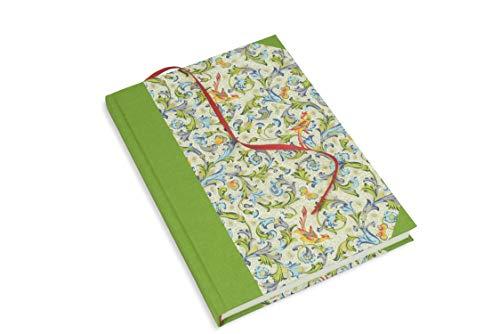 Freunde-Buch zum selbst gestalten, hardcover Skizzenbuch A5, Blanko-Buch Hochformat, 192 creme-weiße Seiten Munken-Papier, grünes Leinen und Lesebändchen, praktischer Begleiter im Büro