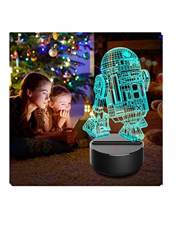 Oksea - Luz Nocturna LED 3D de Star Wars, lámpara de ilusión de la Estrella de la Muerte, Siete Colores y Cambio de Color, lámpara Decorativa para niños y Fans de Star Wars