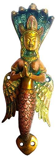 Purpledip messing handvat slang godin Nag Kanya; Prachtige greep voor deuren of ramen (11744 A)