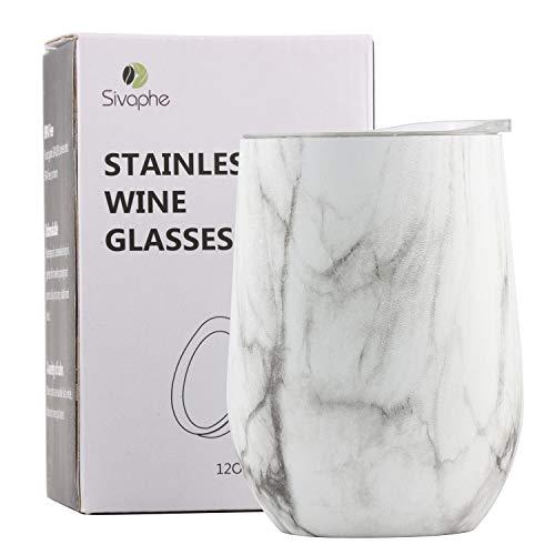 Sivaphe Kaffeetasse Weingläser Edelstahl Doppelwandig Isolierte ohne Stiel Stemless Mug mit Deckeln Camping Reisebecher 12OZ/ 350ML Marmor