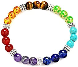 7 Chakra Diffuser Healing Bracelet with Real Stones, Volcanic Lava, Mala Meditation Bracelet with Protection, Energy, Healing