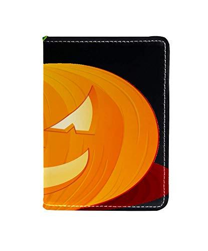 Zucca Di Halloween Funda de Cuero para Pasaporte Funda de Viaje Cartera de Viaje Organizar Pasaporte y Tarjetas de crédito 11.5x16.5cm