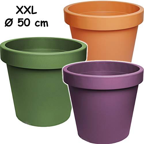 alles-meine.de GmbH Design - XXL - großer Blumentopf / Pflanzkübel / Pflanzschale - Ø 50 cm - 55 Liter - bunter Farb-Mix - rund - Gross - Kunststoffkübel - Übertopf Pflanzgefäß -..