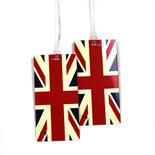 Luggage Tags - Bag Tag Name ID Set for Suitcase, Baggage, with World Travel Designs by 11:11 (Union Jack Flag 2 PC)