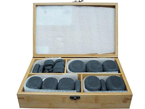 TOA 40pc Unpolished Basalt Large Ovular Massage Spa Hot Stone Therapy Rock Box Set Oval Health