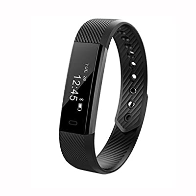SFTRANS Smart Bracelet, Bluetooth 4.0 Fitness Tracker with Pedometer Monitoring, Calories Burnt and Waterproof,Activity Tracker for iPhone 11 Pro/Xs/X/8/7/6, iPad,Samsung Galaxy S9/S8/S7/S6