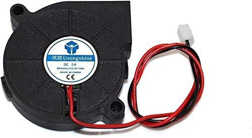 Durable 5015 5/12/24 V Ventilador Turbo de refrigeración Piezas de impresora 3D sin escobillas 2 pines para extrusora Ventilador enfriador de CC 50x50x15mm Parte Ventiladores de plástico negro Accesor