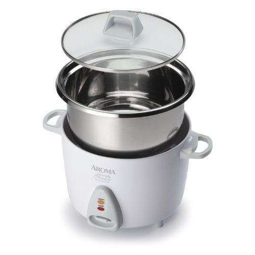 Aroma Simply Stainless Rice Cooker, White [Cooks 3 cups of uncooked rice]