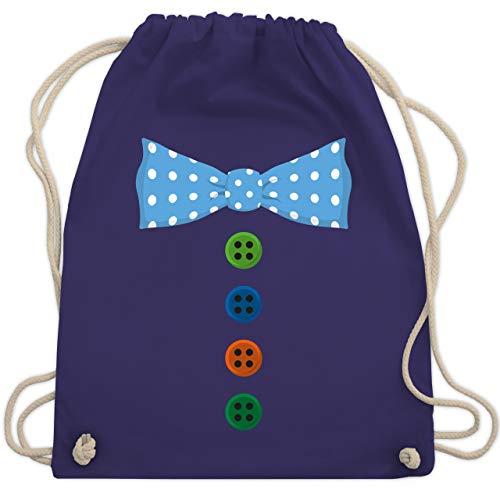 Shirtracer Karneval & Fasching - Clown Kostüm Blaue Fliege - Unisize - Lila - rucksack fasching - WM110 - Turnbeutel und Stoffbeutel aus Baumwolle