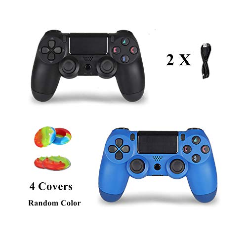 2 Pack Wireless Controller for PS4 Control Remote for Sony Playstation 4 with Double Shock Joystick, Jet Black and Wave Blue,V2