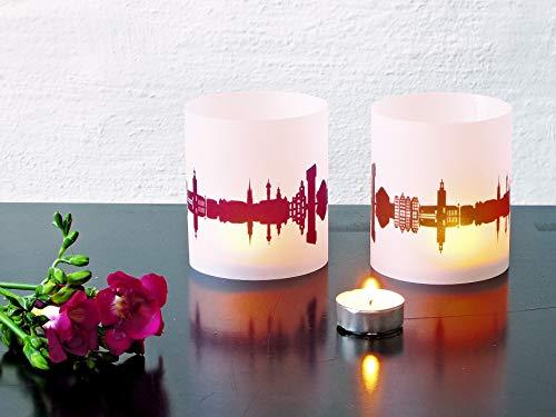 Stockholm Skyline Windlicht 2er Set Lichthülle - Tischlicht Geschenk-Idee Deko personalisierbar mit eigenem Namen Text Datum Spruch Botschaft