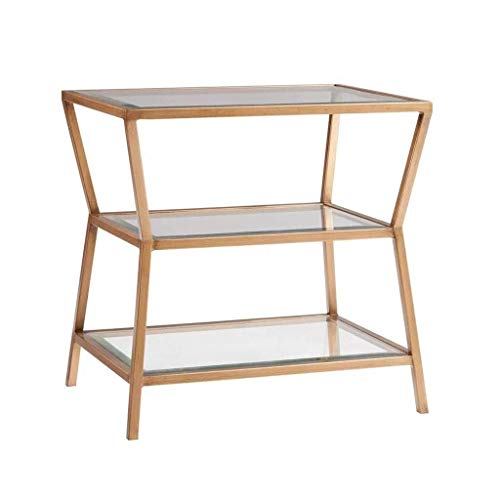 H-CAR Side Table Coffee Table End Table End Table Nordic Side Table Gold Iron Coffee Table Two-Tier Bedside Table Glass Sofa Table for Living Room Bedroom Sofa Table End Tables