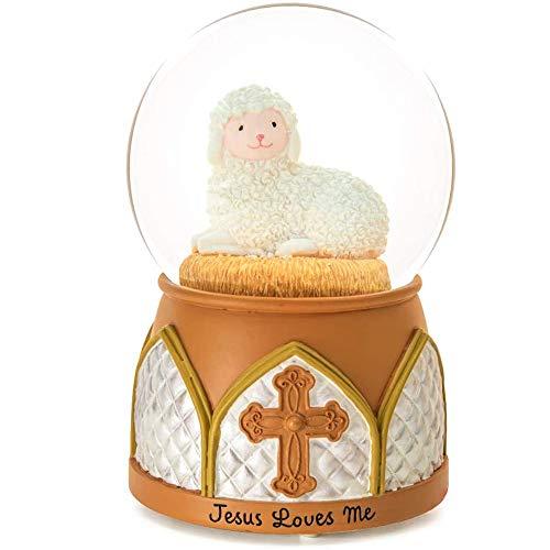 Jesus Snow Globe Music Box - Jesus Loves Me Musical Lamb Cross Precious Moments Religious Baptism Best Gift for Boys Girls Wife Girlfriends Kids Friend Easter Birthday Present