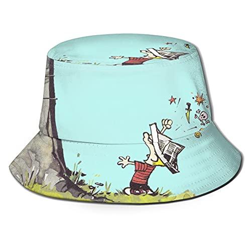 Marat Sombrero de cubo para Calvin and Hobbes 3D Unisex Sun Outdoor Wide Ala Sombreros Unisex Verano Pesca Cap Negro