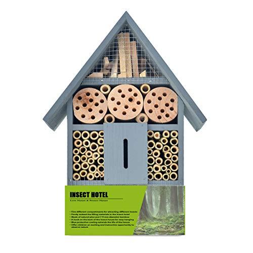 NATURAIS Insektenhaus aus Massivholz, Nisthilfe für Mauerbienen, Florfliegen, Wildbienen, Schmetterlinge, Marienkäfer, Grabwespen (Blau)