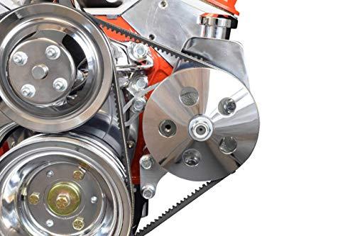 ICT Billet SBC Power Steering Pump Bracket Billet Aluminum V-Belt Slotted Adjustable LWP 305 327 383 5.0L 5.7L V8 Compatible With 350 Small Block Chevy Long Water Pump 551522