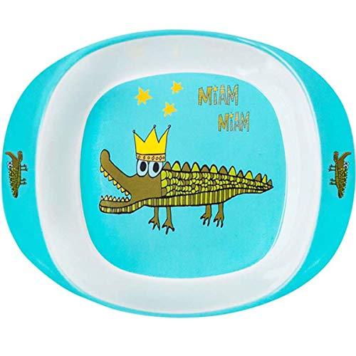 Les Trésors De Lily [R0641 - Assiette bébé mélamine 'Saperlipopette' Turquoise (Crocodile) - 16.5x13.5x4.2 cm