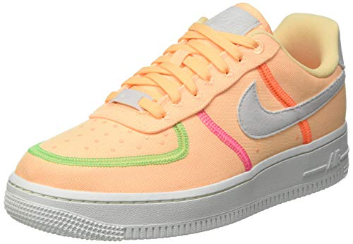 Nike Damen WMNS AIR Force 1 '07 LX Basketballschuh, Melon Tint Summit White Poison Green Pink Blast Hyper Crimson Blue Fury, 40 EU