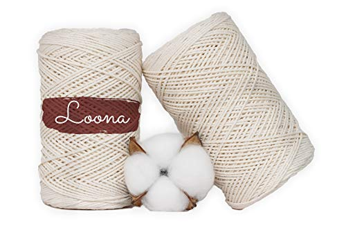 NATURA - 100% algodón de panadero (1 mm x 200 m), 3 capas, hilo de cocina, hilo de carnicero, hilo de cocina, hilo de panadería, hilo de algodón blanco.