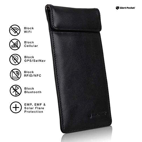 Silent Pocket Faraday Bag Smartphone Sleeve - Leather or Waterproof Nylon - Signal Blocking Device Shielding for iPhone, Samsung Galaxy, most phones for Travel, Privacy, Anti-Hacking - Multiple Colors