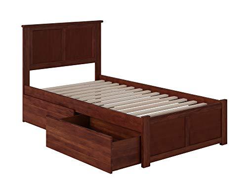 Atlantic Furniture Madison Platform 2 Urban Bed Drawers, Twin XL, Walnut