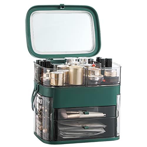 skrskr Caja organizadora de maquillaje con espejo Almacenamiento de cosméticos a prueba de agua y polvo Caja de almacenamiento de maquillaje con cubierta antipolvo Asa portátil...