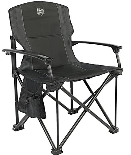Timber Ridge Aluminium Klappstuhl Faltbarer Campingstuhl tragbar für Freien Angeln Balkon Angelstuhl mit Harter Armlehnen und Seitentasche belastbar bis zu 150kg