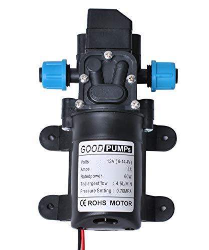 Bomba de Agua Autocebante de Micro Diafragma de Alta Presión Automática DC 12V 60W 4.5L/min Poweka para Caravana Barco Jardín Marino