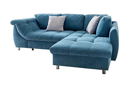 lifestyle4living Ecksofa mit Schlaffunktion und Bettkasten in Blau mit großen Rücken-Kissen, Microfaser-Stoff | Gemütliches L-Sofa mit Longchair im modernen Look