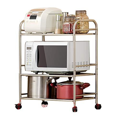 XCZW Küchenregal Küche bewegliche Regale Mikrowelle Rack-3 Schicht aus Speicher Edelstahl-Regale Boden mit Universal-Rädern (Color : White, Size : M 19.7x29.5x13.8inch)