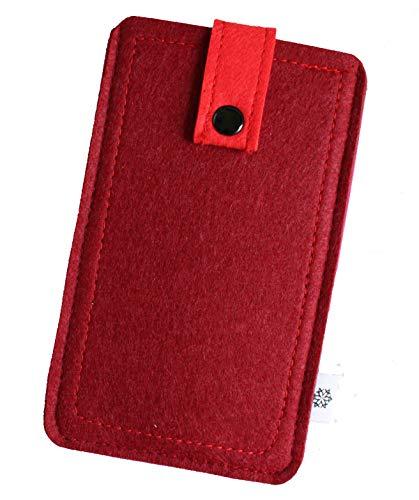 Dealbude24 Filz-Tasche passend für Motorola Moto X Force, Hochwertige Handy-hülle, Schutz-Tasche mit Herausziehband & Drucknopf, Etui stoßfest, weich & reißfest in Rot - L