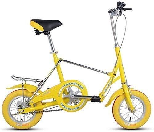 Zjcpow Mini Folding Bikes, 12-Zoll-Single Speed Super Compact faltbares Fahrrad, High-Carbon Stahl Leichtes Gewicht Faltrad mit Heck Carry Rack (Farbe: gelb) xuwuhz (Color : Yellow)