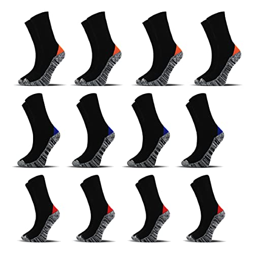 Socksberg Arbeitssocken Herren lang (12 Paar) | Langlebige und Fusselfreie Anti Schweiß Socken | Work Socken | Warme Arbeitssocken Winter und Sommer | Arbeitsstrümpfe, Arbeits Socken 43-46